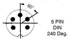DIN Plug - 5p Male 240 graden