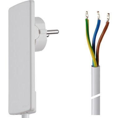 Platte Stekker met kabel - Wit
