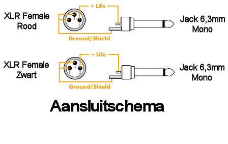 Dubbele Jack - XLR Kabel 6,0m