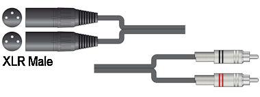 Dubbele XLR - Tulp Kabel 0,75m