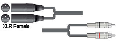 Dubbele XLR - Tulp Kabel 3,0m