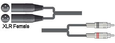 Dubbele XLR - Tulp Kabel 6,0m